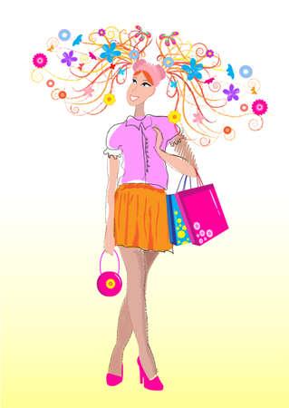 femme papillon: la fille aux cheveux beau printemps, des fleurs Illustration