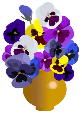 vase of flowers: in a vase there is a beautiful bouquet from flowers Illustration