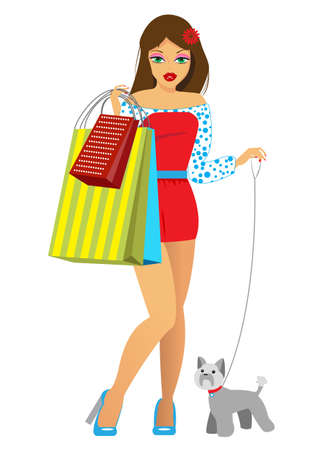 dog walking: the girl with purchases and a dog