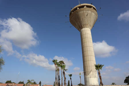 The water tower in the city of Yavne is inactive and is an observation point over the area