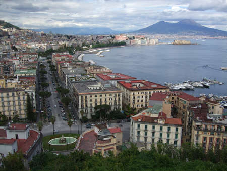 Panoramic of Naples in Italy photo