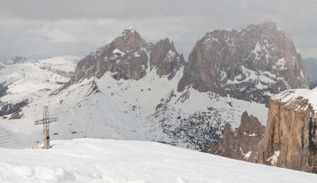 bird s eye: Dolomites in Italy in winter
