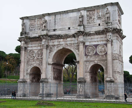 triumphal: Ancient Triumphal arch of Costantine Stock Photo