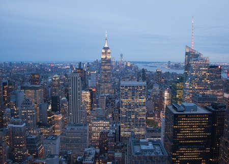 Panorama of New York City by night