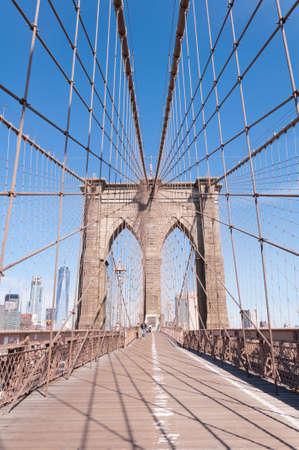 Details of Brooklin bridge in New York Imagens