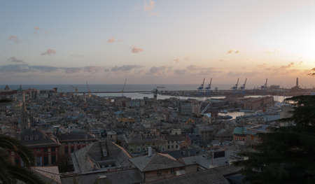 The city and the port of Genoa Archivio Fotografico