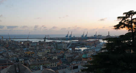 The city and the port of Genoa