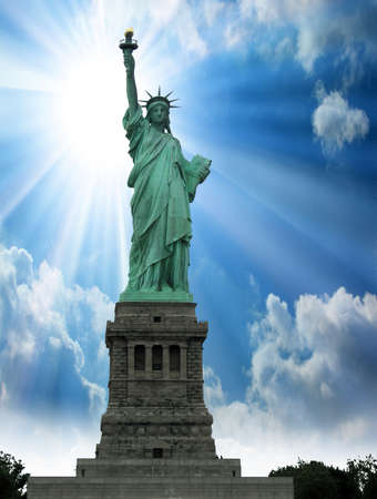 New York, Jun 13  Statue of Liberty at the entrance of the harbor in front of Manhattan  Archivio Fotografico