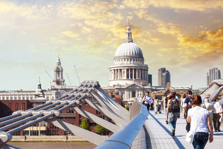 saint pauls cathedral: St Pauls Cathedral view by Millennium Bridge, London. Stock Photo