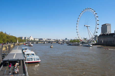 A panoramic view of the River Thames and the London Eye