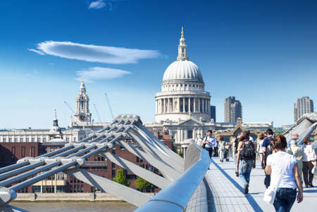 millennium bridge: St Pauls Cathedral view by Millennium Bridge, London. Stock Photo