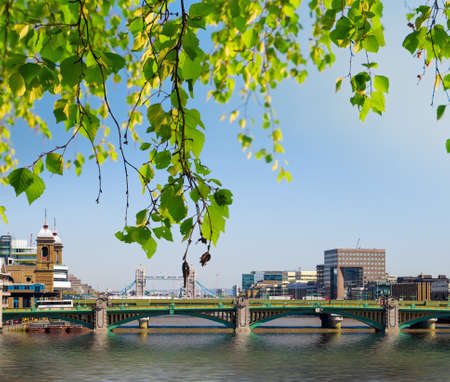 View of Southwark Bridge with Tower Bridge in the background behind the leaves  photo