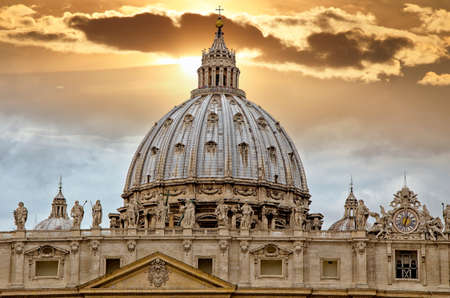 Detail of the Palace of the Vatican,  The Dome  with beautifull sky