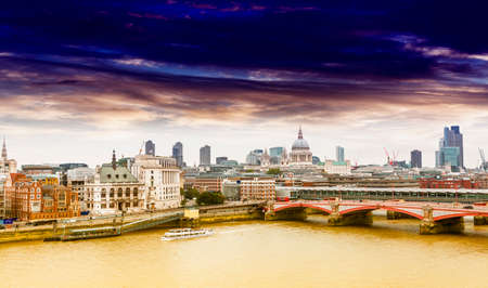 London skyline with background St  Paul Cathedral  photo