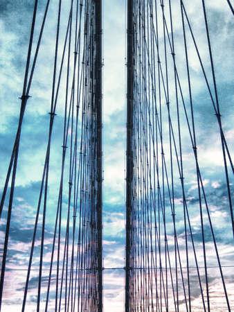 Cavi di Brooklyn Bridge. Archivio Fotografico - 24874916