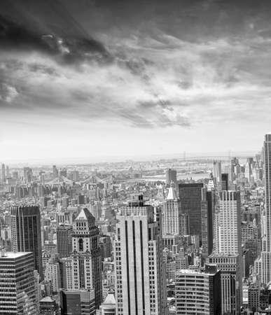 aereal: Beautiful aereal view of Manhattan. Stock Photo