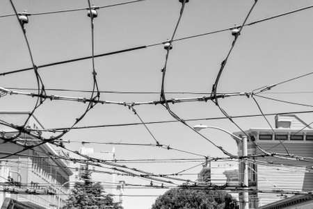 electrics: Electrics cables over San Francisco. Stock Photo