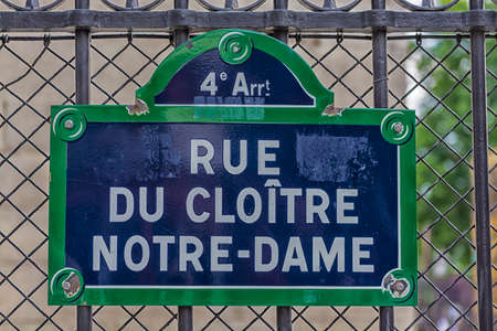 Road sign near Notre Dame,Paris. photo