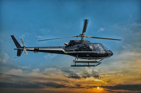 helicopter pilot: Helicopter for sightseeing. Stock Photo