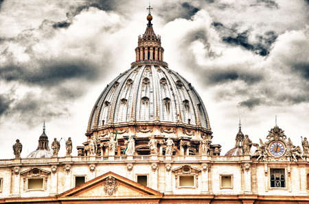 Detail of the Palace of the Vatican, The Dome with beautifull sky. photo