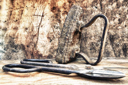 pruning shears: Old tools: Flatiron and pruning shears.