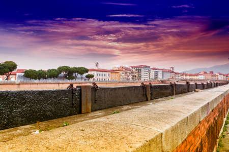 river arno: Protection bulkheads to river Arno. Stock Photo