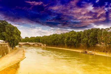 tiber: The Tiber river in Rome.
