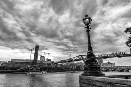 millennium bridge: Particular view of Millennium bridge. Stock Photo