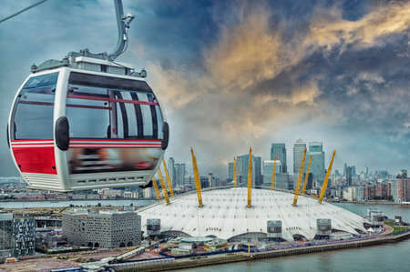 Cable car and London skyline.