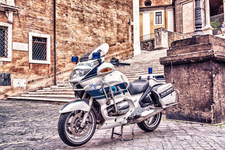 Motocycle police in Rome. Editorial