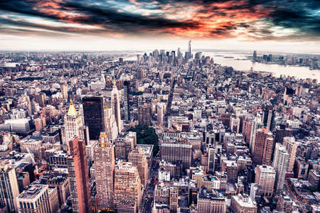 aereal: Aereal view of Manhattan at sunset. Editorial