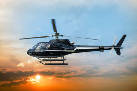 Helicopter for sightseeing. Stockfoto