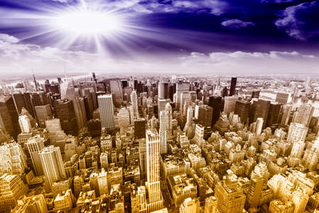 aereal: Aereal view of Manhattan with beautiful sky. Editorial