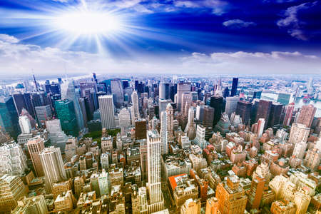 aereal: Aereal view of Manhattan with beautiful sky. Stock Photo