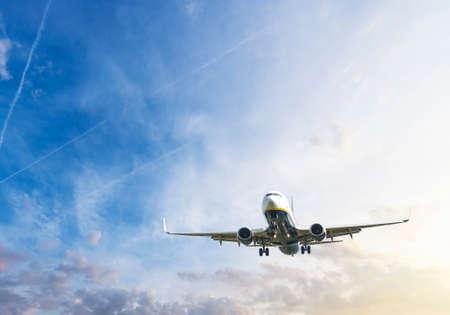during: Airplane during landing.