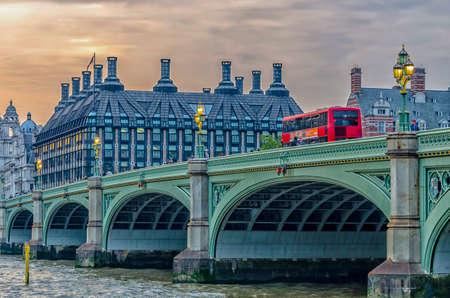 doubledecker: Red doubledecker bus on Westminster Bridge.