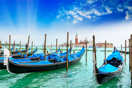 moored: Moored gondolas. Stock Photo