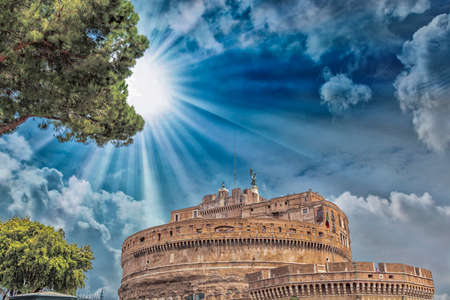 angelo: Castel St. Angelo with beautiful sky, Rome.