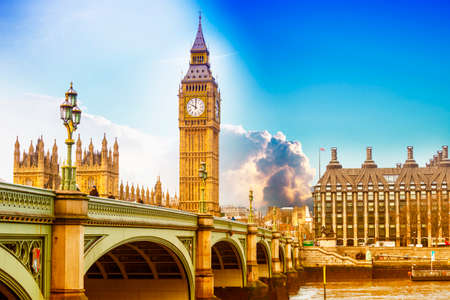 Big Ben with Westminster bridge and EU Parlament in London.