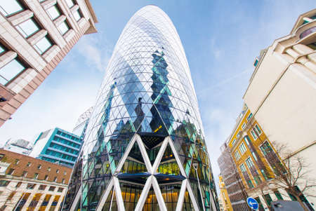 awarded: LONDON - JEN 16: The Gherkin building in London, viewed on Jenuary 16, 2015. The building was awarded a Royal Institute of British Architects Stirling Prize in 2004.