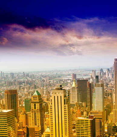 aereal: Beautiful aereal view of Manhattan. Stock Photo