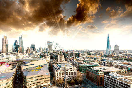aerial: Spectacular skyline of London Stock Photo