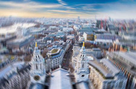 viewed: Blurred picture of London viewed from above. Stock Photo