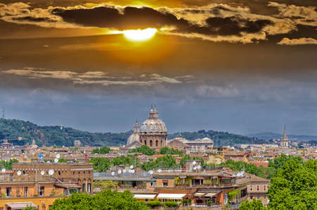 st  peter's basilica pope: Panorama of Rome and St. Peter Basilica in Vatican.