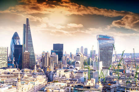 aereal: Aereal view of London modern district. Editorial
