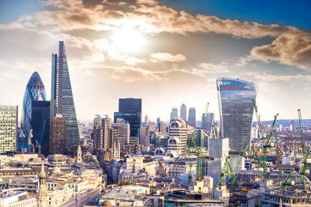london skyline: Aereal view of London modern district. Stock Photo