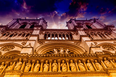 dame: Notre Dame seen from below. Stock Photo