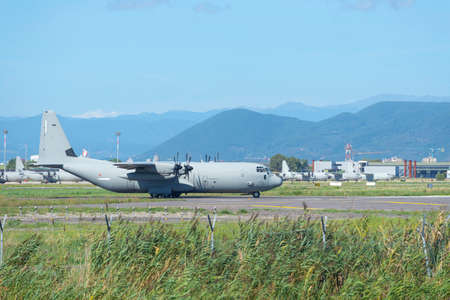 united states air force: PISA, ITALY - AUGUST 25, 2015: United States Air Force Hercules HC-130P 64-14863 landing on August 25, 2015 at Pisa military base. Editorial
