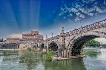 castel: Castel St. Angelo Bridge, Rome.