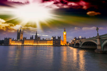 westminster: Beautiful view of Westminster by night. Stock Photo